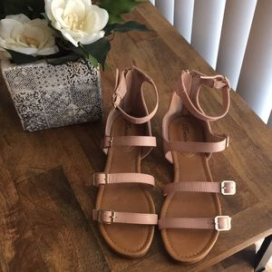 Pink with Gold buckles Gladiator Sandals